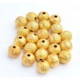 LOT 25 PERLES METALS : rondes dorées pailletées 8mm