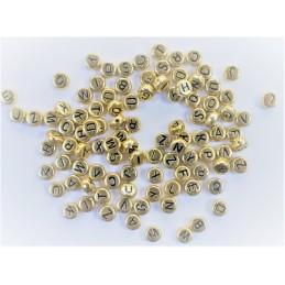 100 perles rondes dorées lettres noires 7 mm