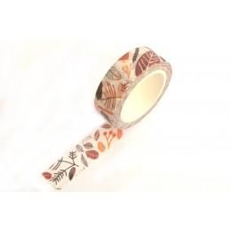 Ruban Washi 15 mm x 10 m motif feuillage d'automne