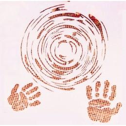 POCHOIR PLASTIQUE 13*13cm : tourbillon et empreintes de main
