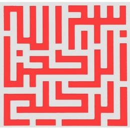 POCHOIR PLASTIQUE 13*13cm : labyrinthe (01)