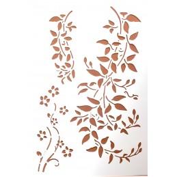 POCHOIR PLASTIQUE 30*21cm : fleur et feuillage (01)