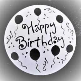 POCHOIR PLASTIQUE ROND 20cm : happy birthday (01)