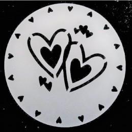 POCHOIR PLASTIQUE ROND 20cm : coeur (01)