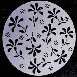 POCHOIR PLASTIQUE ROND 20cm : fleur (01)