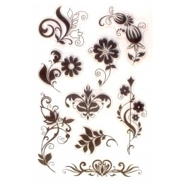 9  tampons silicone scrapbooking motif florale