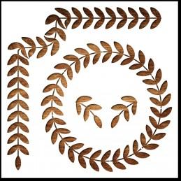 Pochoir 21 x 21 cm  en plastique Mylar : Bordures feuilles