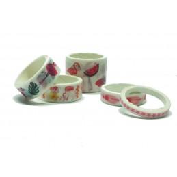 Lot de 5 rubans washi Flamant rose (01)