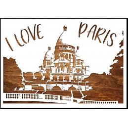 Pochoir A4 en plastique Mylar I love Paris (02)
