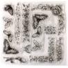 10  tampons  silicone scrapbooking grandes bordures fleuries pack 21 x 21 cm