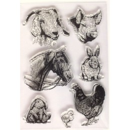 7  tampons  silicone scrapbooking animaux de la ferme