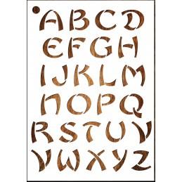Pochoir Lettre A4 en plastique Mylar Alphabet style asiatique 40 mm