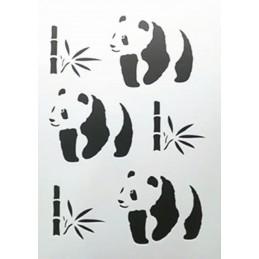 POCHOIR PLASTIQUE 30*21cm : Panda et bambou