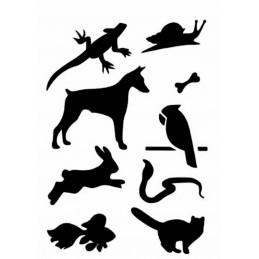 POCHOIR PLASTIQUE 18*12cm : animaux (13)