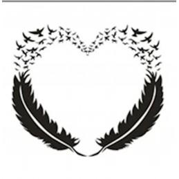 POCHOIR PLASTIQUE 13*13cm : coeur avec motif plumes et oiseaux