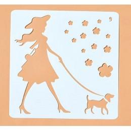 POCHOIR PLASTIQUE 13*13cm : Promenade du chien