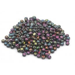 100 perles rondes noires 6mm avec lettres multicolores