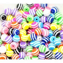 LOT 20 PERLES ACRYLIQUES : rondes multicolores 10mm