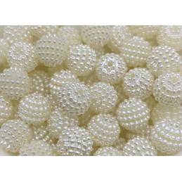 LOT 20 PERLES ACRYLIQUES : boules micro-perles écrues 9mm (01)