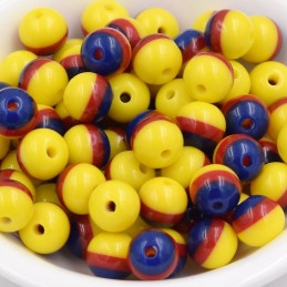 LOT 20 PERLES ACRYLIQUES : rondes marine/rouge/jaune 8mm