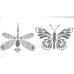 POCHOIR PLASTIQUE 22*12cm : papillon et libellule