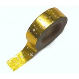 Ruban Washi 15 mm x 10 m effet métalisé doré étoiles