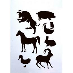 POCHOIR PLASTIQUE 18*12cm : animaux (09)