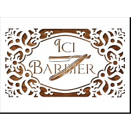 Pochoir A4 21 x 29,7 cm  en plastique Mylar : enseigne ici barbier