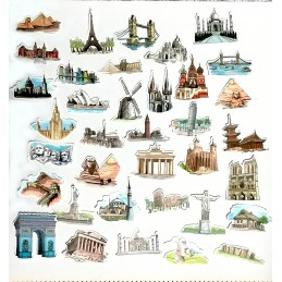 LOT DE 44 STICKERS : les plus beaux monuments du monde