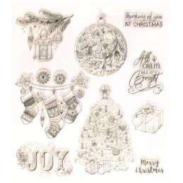 9 Tampons en silicone transparent  motifs Noel grand format