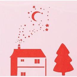 POCHOIR PLASTIQUE 13*13cm : maison et sapin