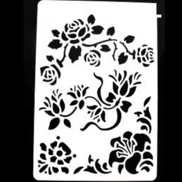 POCHOIR PLASTIQUE 26*18cm : voluptes de roses, pensées..