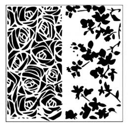 POCHOIR PLASTIQUE 13*13cm : roses et fleurs (01)