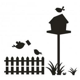 POCHOIR PLASTIQUE 13*13cm : oiseaux dans le jardin
