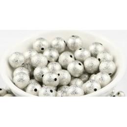 LOT 20 PERLES METAL : rondes argentées pailletées 10mm