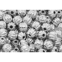 LOT 25 PERLES METALS :  rondes striées argentées 6mm