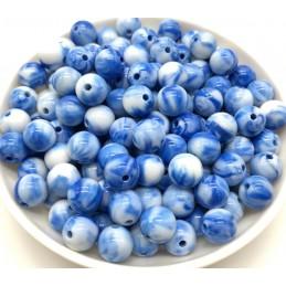 LOT 50 PERLES ACRYLIQUES : rondes marbrées bleu/blanche 6mm