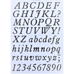 POCHOIR PLASTIQUE 30*21cm :  Alphabet (04)