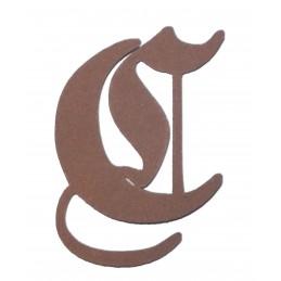 Lettre C majuscule Germanica 50 mm en laser cut canson  230 gr