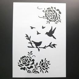 POCHOIR PLASTIQUE 30*21cm : oiseaux et roses