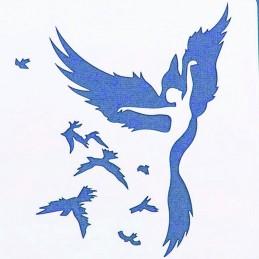 POCHOIR PLASTIQUE 13*13m : femme oiseau