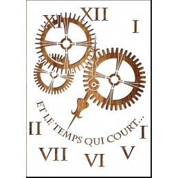 Pochoir A4 vieille horloge et engrenages