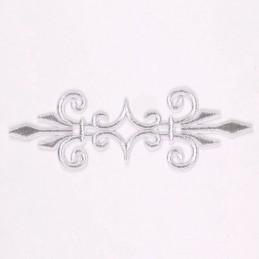 APPLIQUE TISSU THERMOCOLLANT : bordure argenté 17*5cm (01)