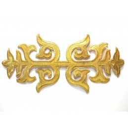 APPLIQUE TISSU THERMOCOLLANT : ornement gold 22*10cm (05)