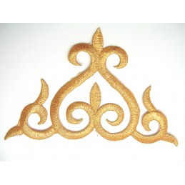 APPLIQUE TISSU THERMOCOLLANT : ornement gold 13*10cm (04)