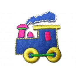 APPLIQUE TISSU THERMOCOLLANT : locomotive  bleu, jaune 5.5*4.5cm