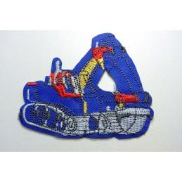 APPLIQUE TISSU THERMOCOLLANT : pelleteuse bleu 7*6cm