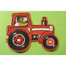 APPLIQUE TISSU THERMOCOLLANT : tracteur rouge 8*6.5cm