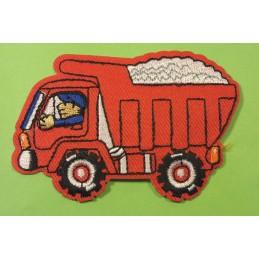 APPLIQUE TISSU THERMOCOLLANT : camion benne rouge 8.5*5.5cm