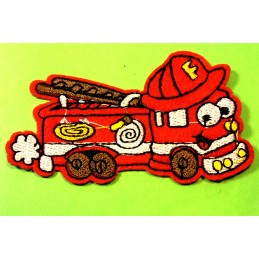 APPLIQUE TISSU THERMOCOLLANT : camion pompier rouge 8*4.5cm